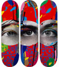 Collectible, Paul Insect X Beyond the Streets. I See 1, 2, & 3 (set of 3), 2020. Screenprints in colors on skate decks. 32 x 8 inches...