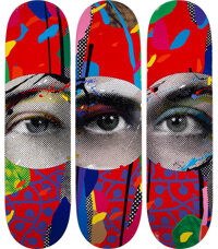Paul Insect X Beyond the Streets I See 1, 2, & 3 (set of 3), 2020 Screenprints in colors on skate de