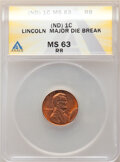 Undated 1C Lincoln Cent -- Major Die Break -- MS63 Red and Brown ANACS. From the Don Bonser Error Coin Collection Part...