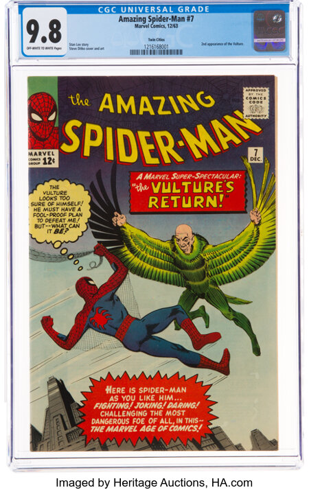 The Amazing Spider-Man #7 Twin Cities Pedigree (Marvel, 1963) CGC NM/MT 9.8 Off-white to white pages....