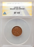 Errors, 1935 1C Lincoln Cent -- Major Die Break -- XF45 ANACS.. From the Don Bonser Error Coin Collection Part IV....