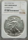 2016 $1 Silver Eagle, 30th Anniversary -- Clashed Dies -- MS69 NGC. From the Don Bonser Error Coin Collection Part IV...