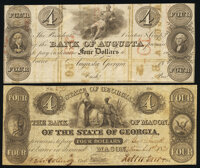 Augusta, GA- Bank of Augusta $4 18__ Remainder About Uncirculated; Macon, GA- Bank of Macon of the State of Georgia...