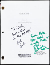 """Back to the Future (1980s). Very Fine. Signed Photocopied Revised Fourth Draft Script (132 Pages, 8.5"""" X 11"""")..."""
