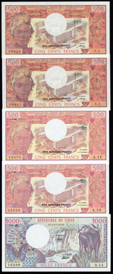 Cameroon and Chad Group Lot of 5 Examples Crisp Uncirculated. ... (Total: 5 notes)
