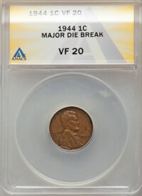1944 1C Lincoln Cent -- Major Die Break -- VF20 ANACS. Mintage 1,435,400,000. From the Don Bonser Error Coin Collecti