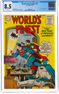 World's Finest Comics #75 (DC, 1955) CGC VF+ 8.5 White pages