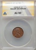 1956-D 1C Lincoln Cent -- Major Die Break -- AU50 ANACS. Mintage 1,098,201,100. From the Don Bonser Error Coin Co