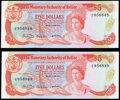 World Currency, Belize Monetary Authority 5 Dollars 1980 Pick 39a Two Examples Crisp Uncirculated (2).. ... (Total: 2 notes)