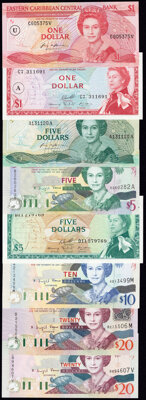 East Caribbean States Group of 8 Examples Crisp Uncirculated (7); About Uncirculated (1). ... (Total: 8 notes)