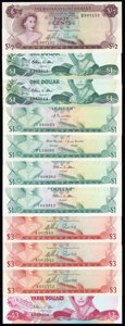 World Currency, Bahamas Group Lot of 11 Examples Very Fine-Crisp Uncirculated.. ... (Total: 11 notes)