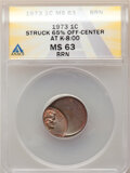 1973 1C Lincoln Cent -- Struck 65% Off Center @8:00 -- MS63 Brown ANACS. From the Don Bonser Error Coin Collection Par...