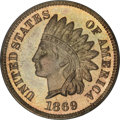 Proof Indian Cents, 1869 1C PR65 Cameo PCGS....