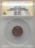 1977 1C Lincoln Cent -- Major Die Break, Corroded, Scratched -- ANACS. XF45 Details. From the Don Bonser Error Coin Co...