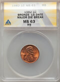 1982 1C Bronze, Large Date, Lincoln Cent -- Major Die Break -- MS63 Red and Brown ANACS. From the Don Bonser Error Coi...