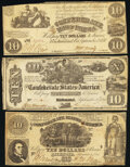 Confederate Notes:1861 Issues, T28 $10 1861 Fine-Very Fine;. T29 $10 1861 Very Fine;. T30 $10 1861 Fine-Very Fine.. ... (Total: 3 notes)