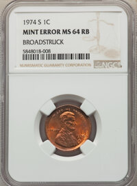 1974-S 1C Lincoln Cent -- Broadstruck -- MS64 Red and Brown NGC. From the Don Bonser Error Coin Collection Par IV