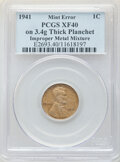 Errors, 1941 1C Lincoln Cent -- Struck on Thick Planchet with Improper Metal Mixture -- XF40 PCGS. (3.4 grams).. From the D...