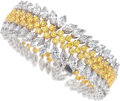 Estate Jewelry:Bracelets, An Attractive yellow and white diamond bracelet mounted in 18k white and yellow gold. The multi-row highly satu