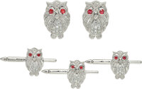 Whimsical 18K white gold, diamond and ruby owl dress set  Comprised of a pair of cufflinks and three matching s