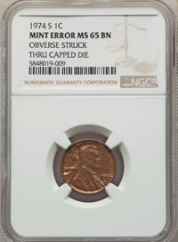 1974-S 1C Lincoln Cent -- Broadstruck -- MS65 Brown NGC. From the Don Bonser Error Coin Collection Par IV