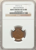 Errors, 1919-S 1C Lincoln Cent -- Broadstruck -- AU55 NGC.. From the Don Bonser Error Coin Collection Part IV....