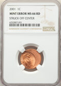2001 1C Lincoln Cent -- Struck Off Center -- MS66 Red NGC. From the Don Bonser Error Coin Collection Part IV