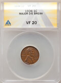 Errors, 1936 1C Lincoln Cent -- Major Die Break -- VF20 ANACS.. From the Don Bonser Error Coin Collection Part IV....