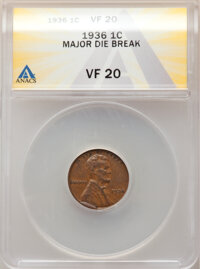 1936 1C Lincoln Cent -- Major Die Break -- VF20 ANACS. From the Don Bonser Error Coin Collection Par IV