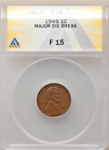 1945 1C Lincoln Cent -- Major Die Break -- Fine 15 ANACS. From the Don Bonser Error Coin Collection Part IV