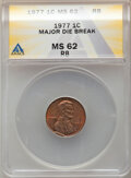 1977 1C Lincoln Cent -- Major Die Break -- MS62 Red and Brown ANACS. From the Don Bonser Error Coin Collection Part IV...