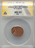 1970-D 1C Lincoln Cent -- Struck 85% Off Center @10:00 -- MS63 Red and Brown ANACS. From the Don Bonser Error Coin Col...