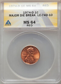 1974-D 1C Lincoln Cent -- Major Die Break -- MS64 Red ANACS. From the Don Bonser Error Coin Collection Par IV