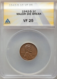 1942-S 1C Lincoln Cent -- Major Die Break -- VF25 ANACS. From the Don Bonser Error Coin Collection Par IV