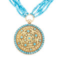 Estate Jewelry:Necklaces, Turquoise, Gold Necklace, French. ...