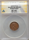 1942-S 1C Lincoln Cent -- Major Die Break, Scratched -- ANACS. XF40 Details. From the Don Bonser Error Coin Collection...