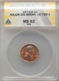 1973-D 1C Lincoln Cent -- Major Die Break -- MS63 Red and Brown ANACS. From the Don Bonser Error Coin Collection Part...