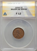 1934 1C Lincoln Cent -- Major Die Break -- Fine 12 ANACS. From the Don Bonser Error Coin Collection Part IV