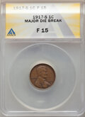 Errors, 1917-S 1C Lincoln Cent -- Major Die Break -- Fine 15 ANACS.. From the Don Bonser Error Coin Collection Part IV....