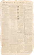 Political:Posters & Broadsides (pre-1896), The Pennsylvania Packet, and Daily Advertiser Newspaper: September 18, 1787....