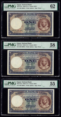 Egypt National Bank of Egypt 1 Pound 18.6.1943 Pick 22c Three Examples PMG Uncirculated 62; Choice About Unc 58; About U...