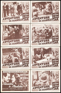 """Adventure in Manhattan (Columbia, R-1948). Very Fine-. Lobby Card Set of 8 (11"""" X 14""""). Comedy. ... (Total: 8..."""