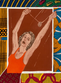Emma Amos (American, b. 1938) On Top of the World, 1996 Etching in colors with fabric collage on paper 29-7/8 x 22-1/