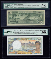 New Caledonia Banque de l'Indochine, Noumea 20; 500 Francs ND (1944); ND (1969-92) Pick 49; 60a Two Examples PMG Choice...
