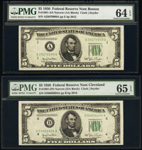 Fr. 1961-A; D $5 1950 Narrow Federal Reserve Notes. PMG Graded Choice Uncirculated 64 EPQ; Gem Uncirculated 65 EPQ...