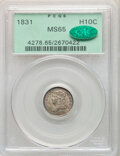 1831 H10C V-6, LM-1.2, R.1, MS65 PCGS. CAC. The upper loops of both S's in STATES are filled, identifying this popular v...