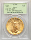 High Relief Double Eagles, 1907 $20 High Relief, Wire Rim MS64 PCGS. PCGS Population: (1072/402). NGC Census: (479/178). CDN: $18,700 Whsle. Bid for N...