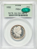 1892 25C PR64 PCGS. CAC. The first-year Barber quarter proof is usually available in PR64, but this piece is singularly...