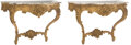 Furniture, A Pair of French Louis XV-Style Giltwood Console Tables with Marble Tops. 34 x 50 x 20-1/2 inches (86.4 x 127 x 52.1 cm) (ea... (Total: 2 Items)