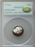 1916 10C MS66 Full Bands PCGS. Gold CAC. PCGS Population: (488/192). NGC Census: (383/108). CDN: $280 Whsle. Bid for NGC...